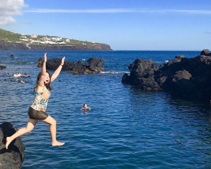 Nina fishing off the coast of Sao Miguel, Azores