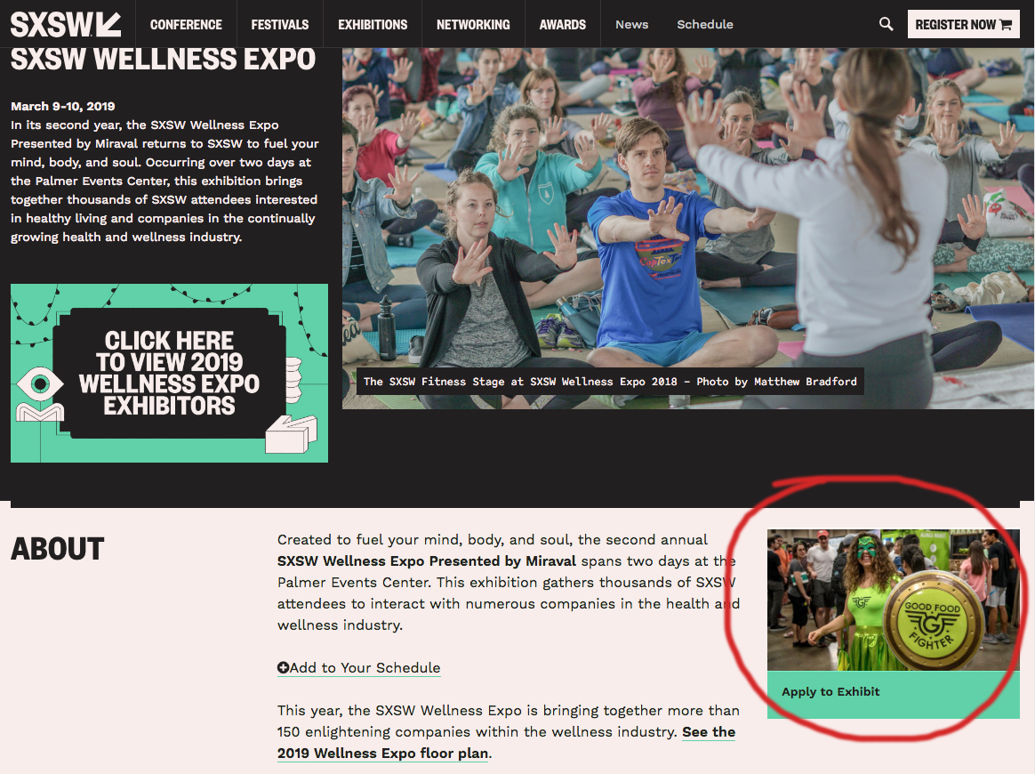 GFF on the SXSW homepage for Wellness Expo