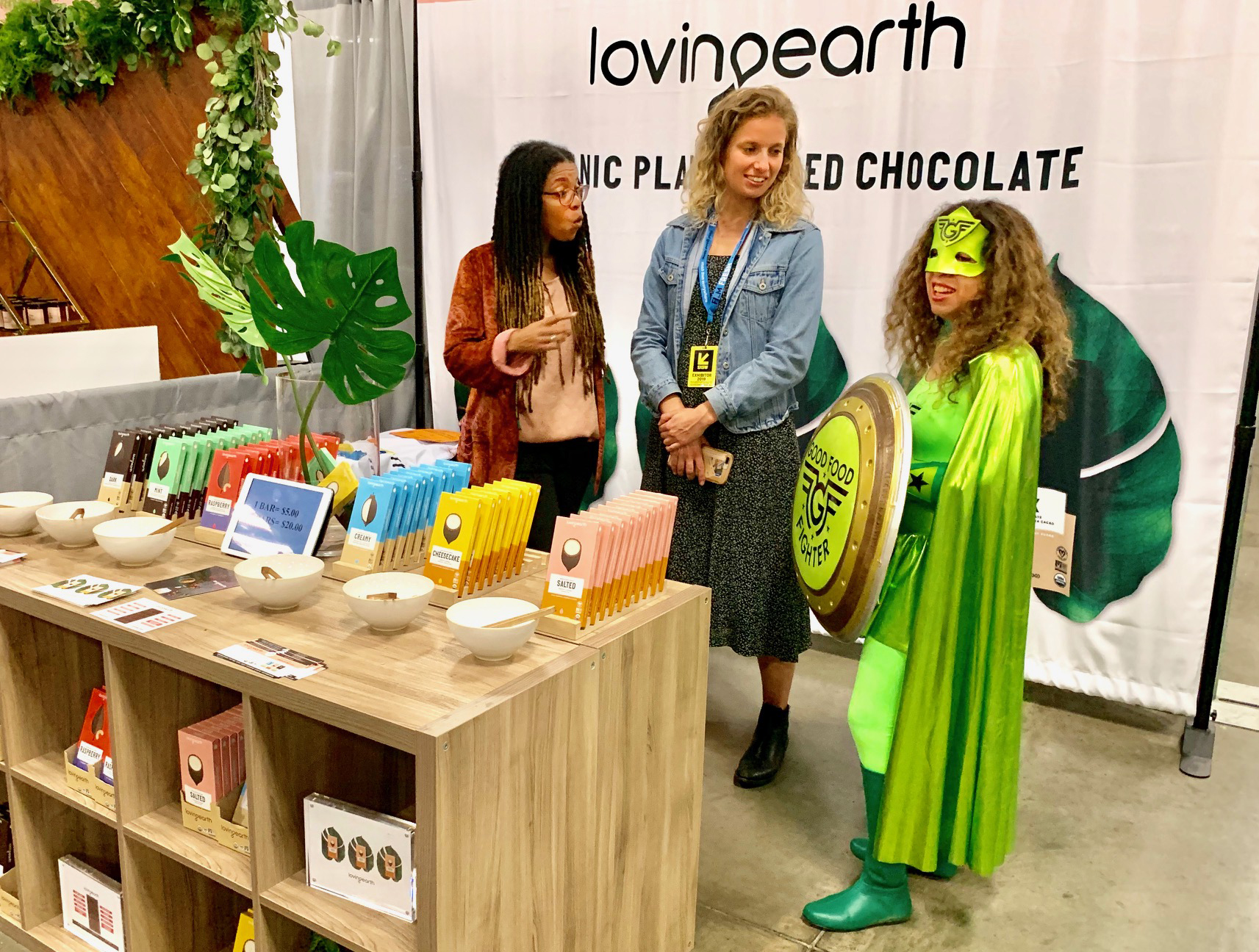 Loving Earth booth, Wellness Expo Austin, health trade show, Good Food Fighter SXSW
